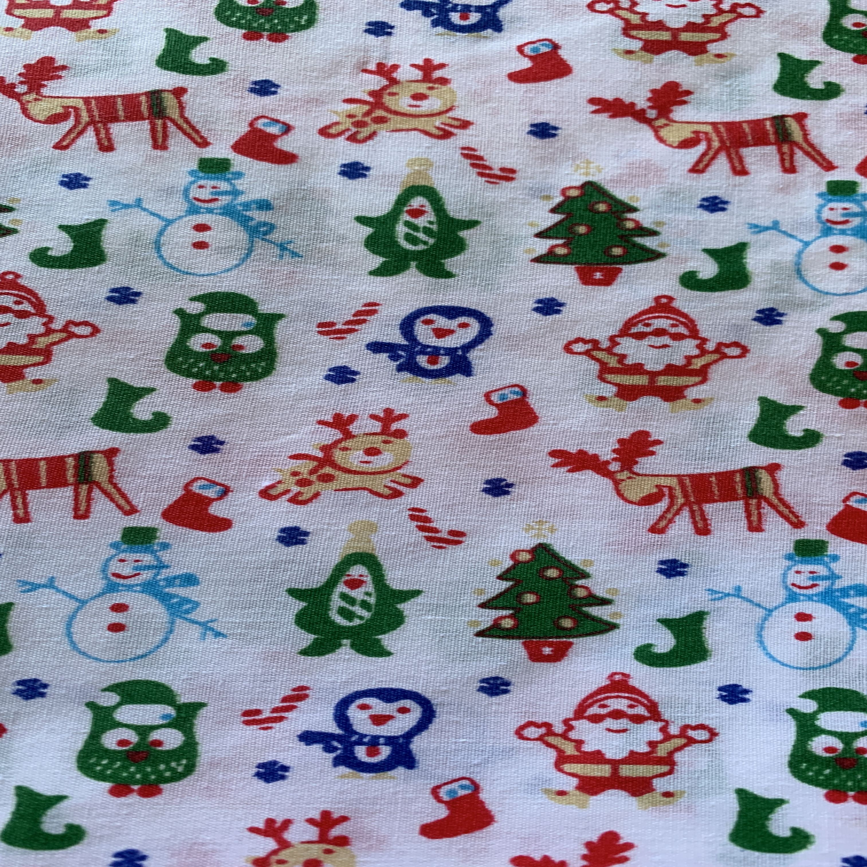 Christmas character white fabric