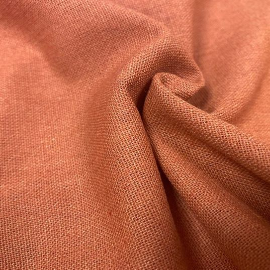 Linen mix rust fabric