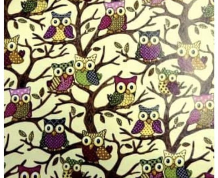 Cream Owl PVC fabric