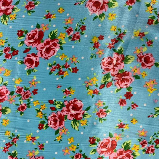 Floral satin Blue fabric