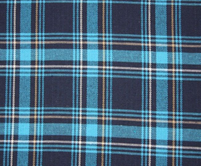 Brushed polycotton tartan in Turquoise