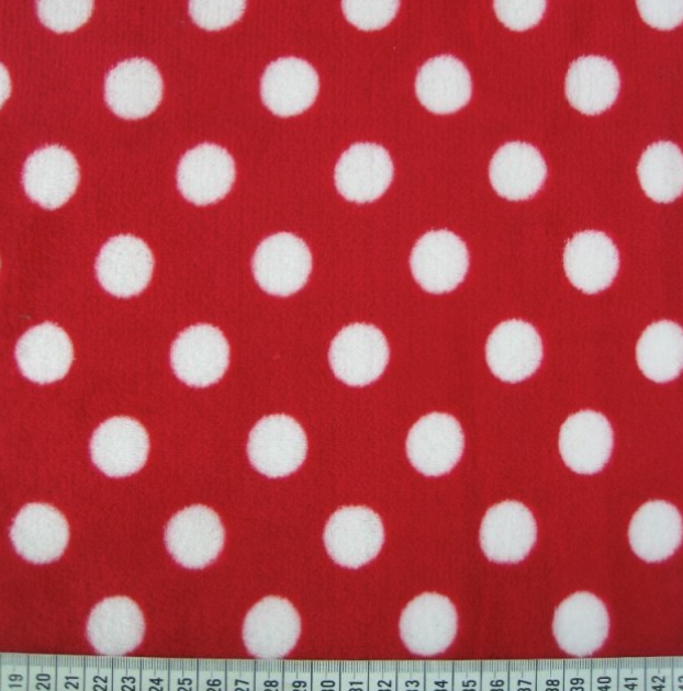 Penny spot cuddle fleece red and white spot